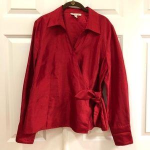 JM Collection Wrap Blouse Sz 16 Holiday Shirt 450